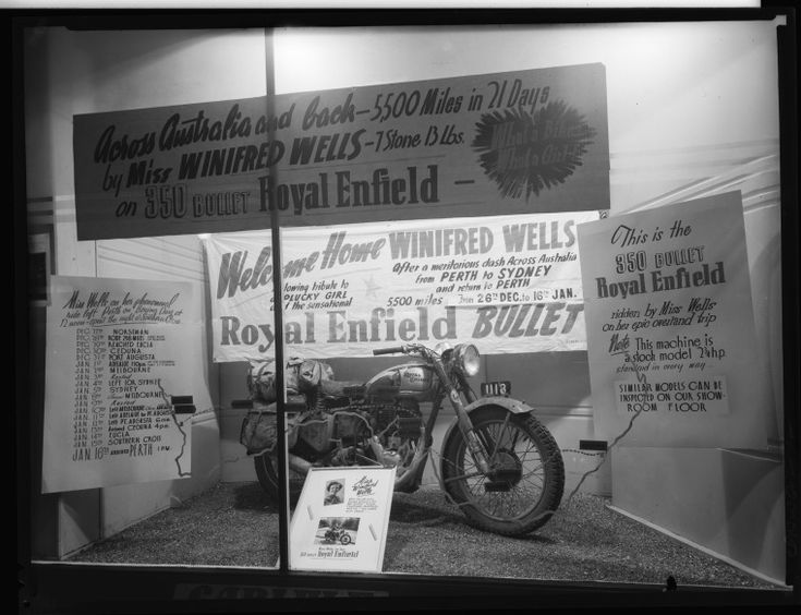 234763PD: Messages or congratulations and the Royal Enfield used by Winifred Wells to travel across Australian and back to Perth, 26 December 1950-16 January 1952 https://encore.slwa.wa.gov.au/iii/encore/record/C__Rb2293791