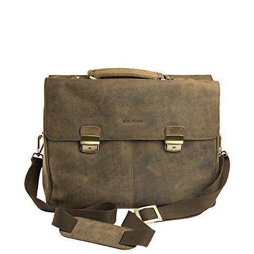 Marc Picard handgearbeitete Aktentasche Laptop bis 15,6 Zoll, Business Tasche, für Universität und Beruf, Herrentasche Umhängetasche, DIN-A4 Laptoptasche, Notebooktasche 42x33x16 (Tobacco)