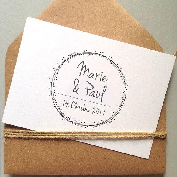 """Einladungskarten – Hochzeitseinladung """"Dots"""" auf Recyclingkarton – ein Designerstück von papeteriejolie bei DaWanda"""