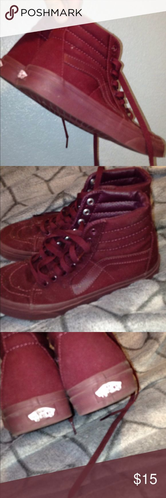 Burgundy vans! Burgundy high top vans! In the size 7! I am able to negotiate! Vans Shoes Sneakers