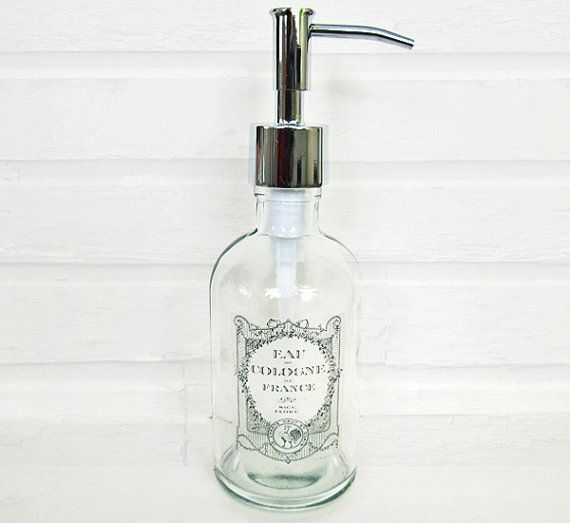 Soap Dispenser Apothecary Bottle Vintage French Label Recycled Glass Soap Dispensers Choose Your Metal Soap Pump