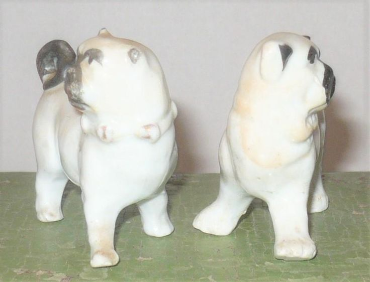 Here are 2 little 1890's glazed brindle pugs. The pugs are about 3 long2.5 tall. Both have black painted muzzles, features, ears and ring tails. Both