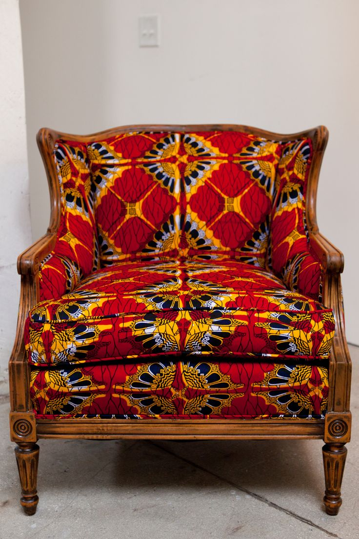 African print fabric upholstered chair  wax  Upholstered