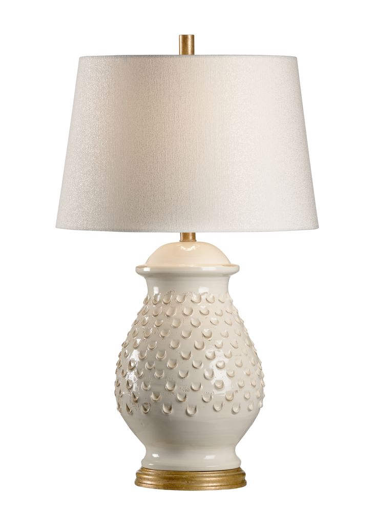 Italian Ceramic Fiera Aged Cream Table Lamp with Shade - CURRENTLY ON BACKORDER