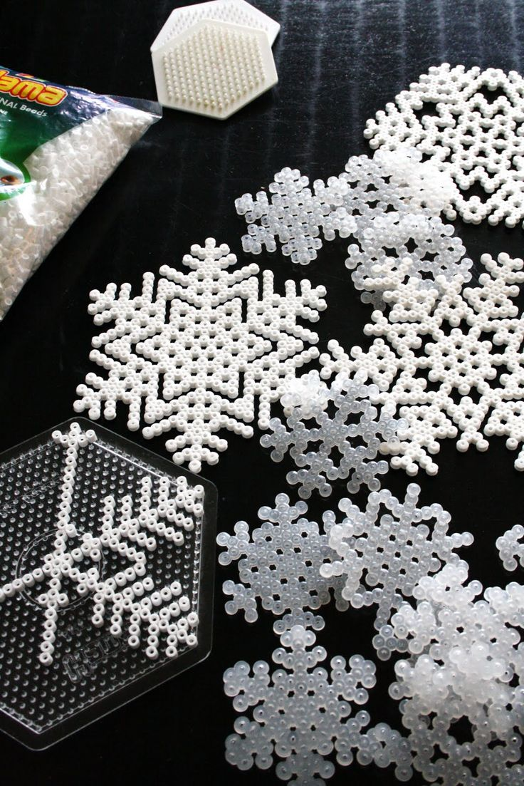 fusion bead snowflakes: easy for kids to help, use some ribbon and its a tree ornament