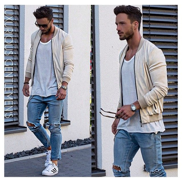Easy summer look* Jacket: T-Shirt: Jeans: Sneaker: Bomber Jacket Men Outfit  ...