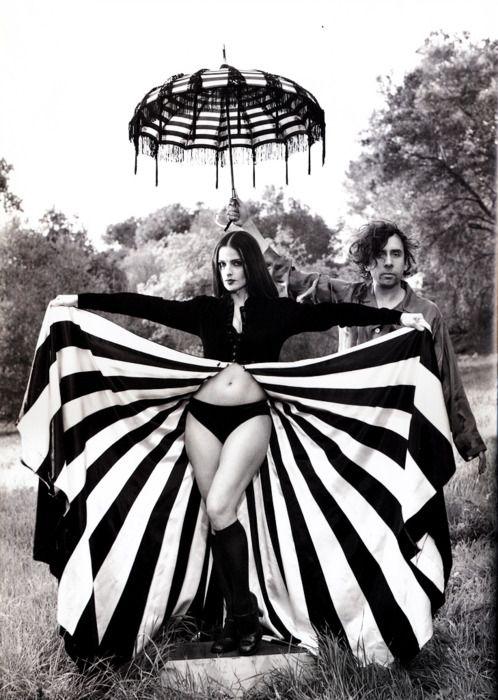 Tim Burton with Lisa Marie Smith.: Full Skirts, Lisamari, Ellen Mark, Lisa Marie, Lisa Mary Presley, Tim Burton, Stripes, Costume Idea, Timburton