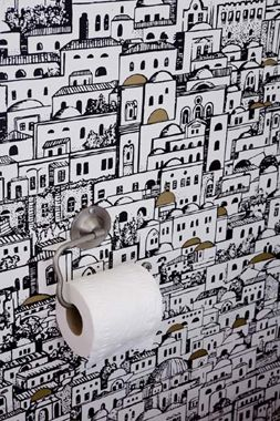 cloakroom wall- quirky wallpaper