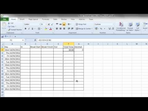 Simple Excel Timesheet - YouTube