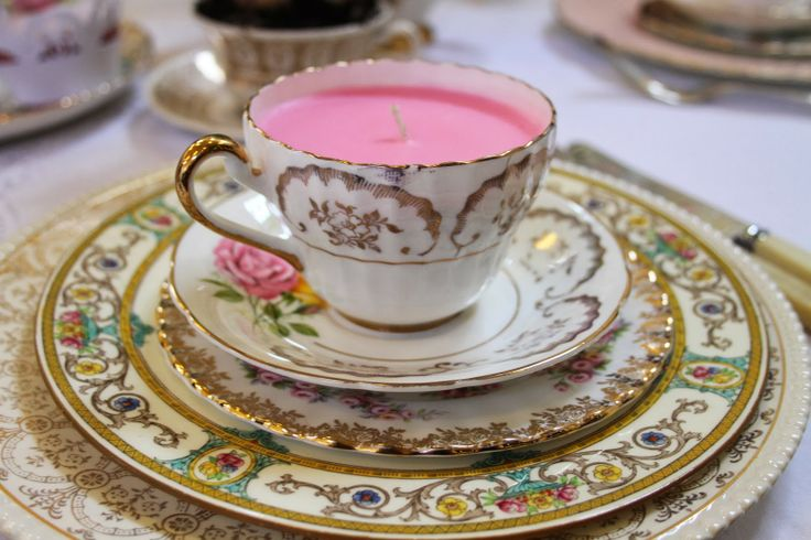 candle and fancy vintage china
