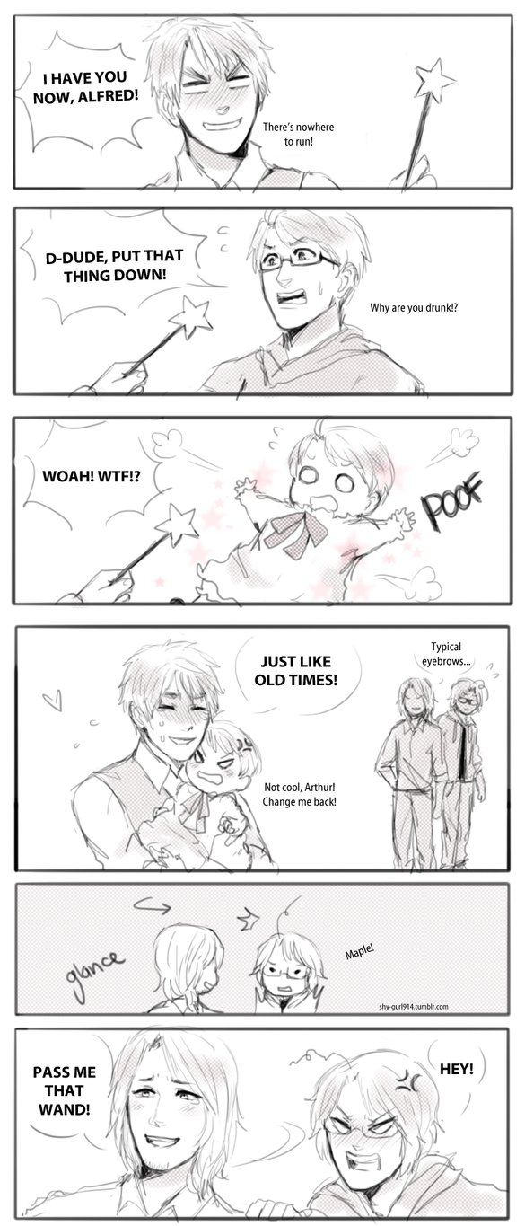 Magic Touch by shygurl914 on DeviantArt <<< Just look at Francis's face in the last panel, for some reason I think that he wants to turn Matthieu back into a chibi is so that he can fix all that he did wrong with Matthieu's childhood, like giving him away to Arthur. Either that or he just really wants to cuddle with a chibi Matthieu again or something.