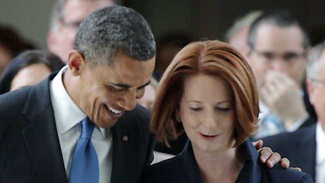 US President Barack Obama and Australian Prime Minister Julia Gillard in Canberra - 2012