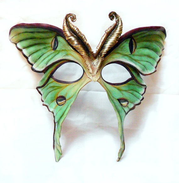 Luna Moth Leather Mask by LibertiniArts on Etsy, $210.00