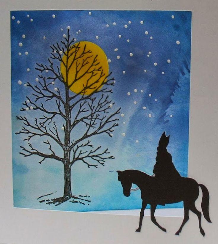 Sinterklaaskaart (silhouet) : Zie de maan schijnt door de bomen...