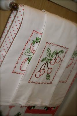 Cute cherry embroidered towels