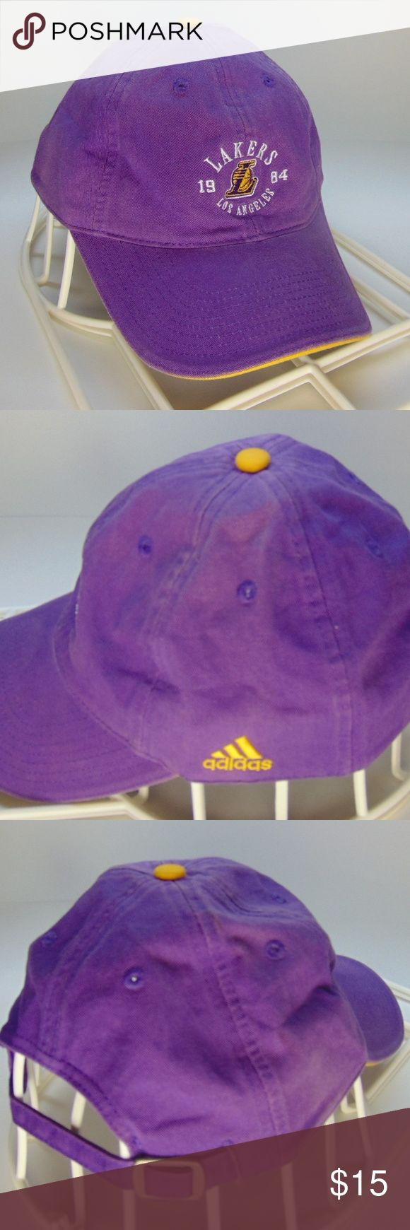 Los Angeles Lakers Cap / Hat New Adidas LA Lakers one size fits all cap with rear size adjustment Adidas Accessories Hats