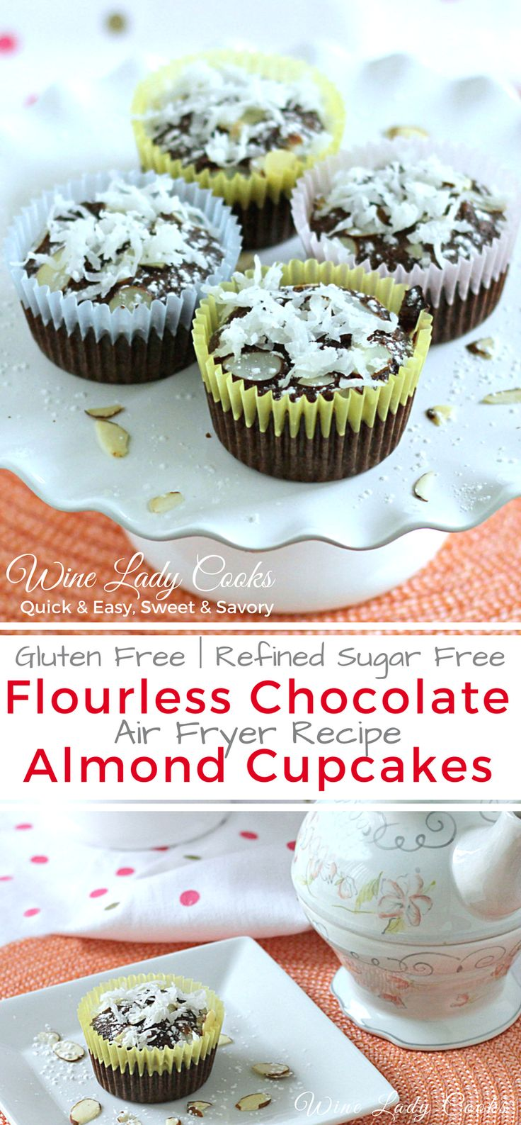 Flourless Chocolate Almond Cupcake small batch air fryer recipe, quick and easy to make and gluten free. Click thru for easy recipe. #flourless #almond #cupcakes #glutenfree #dessert #airfryer #Mother'sDay