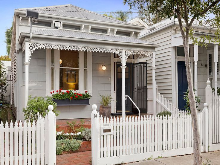 Pale grey and white Victorian cottage. Love the window box. 14 Bowen Street…