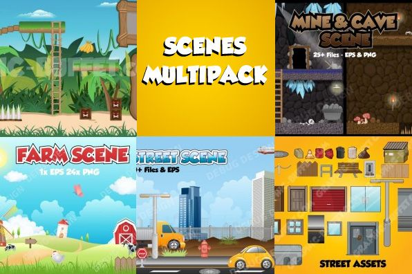 The scenes multi packs consists of 5 fantastic game graphics packs: Jungle Scene Cave/ Mine Scene Street Scene Street Assets Farm Scene Jungle Scene Includes (50 files) Trees  bushes Platforms  blocks Collectible bananas  hearts sky  ground ladders  chests Tiki block spikes Text (Play, continue, scores, music, back, level select, game [...]