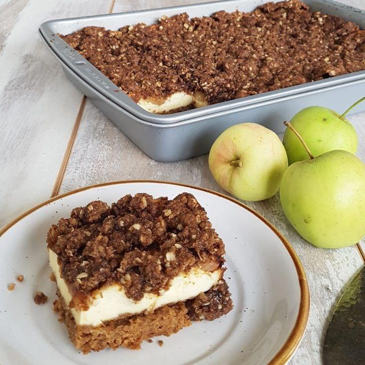 Cheesecake! Extra lekker met een laagje appels en een crumbletopping!