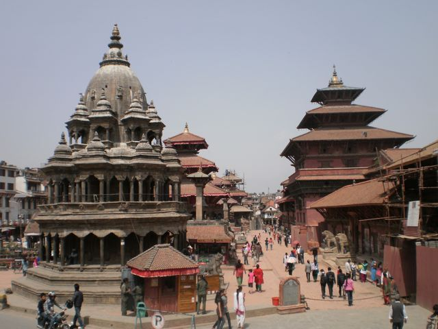 Durbar Square, Pathan. The palace on the right was being restored after long neglect. What has happened to it now?