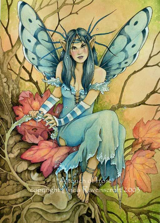 linda ravenscroft A Touch of Frost fairy watercolor original art painting fantasy