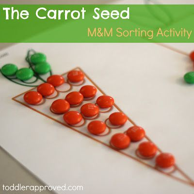 M Sorting Activity and free printable along with other activities to go along with The Carrot Seed by Ruth Krauss for Toddler Approved's April Virtual Book Club. Do you have any favorite Carrot Seed themed activity?