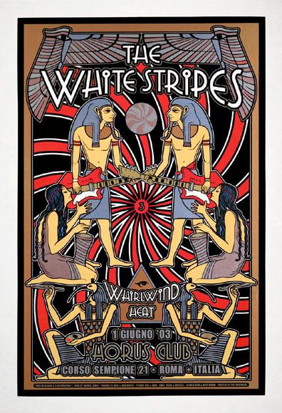 Dennis Loren Scarce White Stripes Egyptian Motif Large Silkscreen Poster  with Whirlwind Heat   The depth and presence of this poster is stunning due to the virtuostic use of metallic inks in its printing!      Horus Club Rome, Italy   7/1/2003   Artist: Dennis Loren