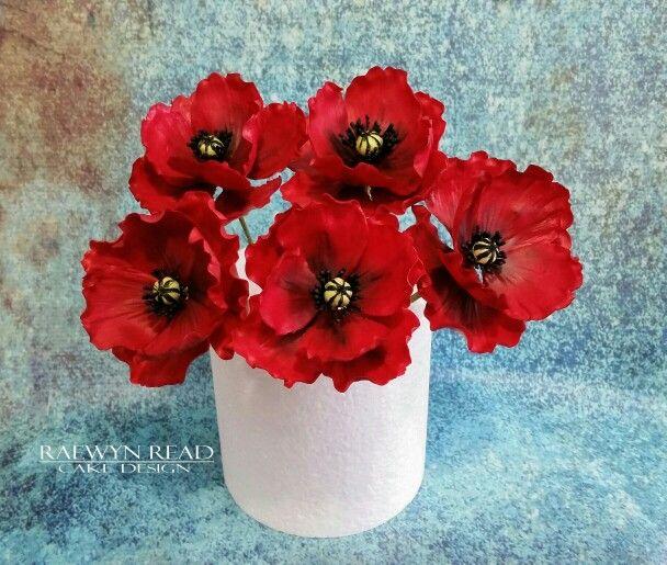 Red Poppies www.facebook.com/cakesbyraewyn  #sugarflowers #sugarflowerclasses #redpoppies