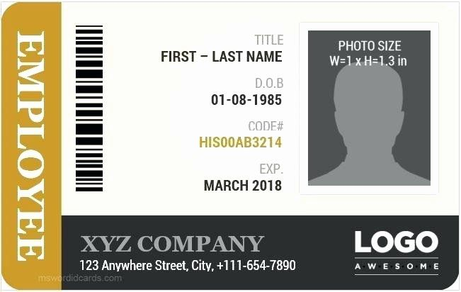 Free Id Card Template Word Awesome Employee Id Badge Template Free Download Card Vector Blank Employee Id Card Id Card Template Employees Card