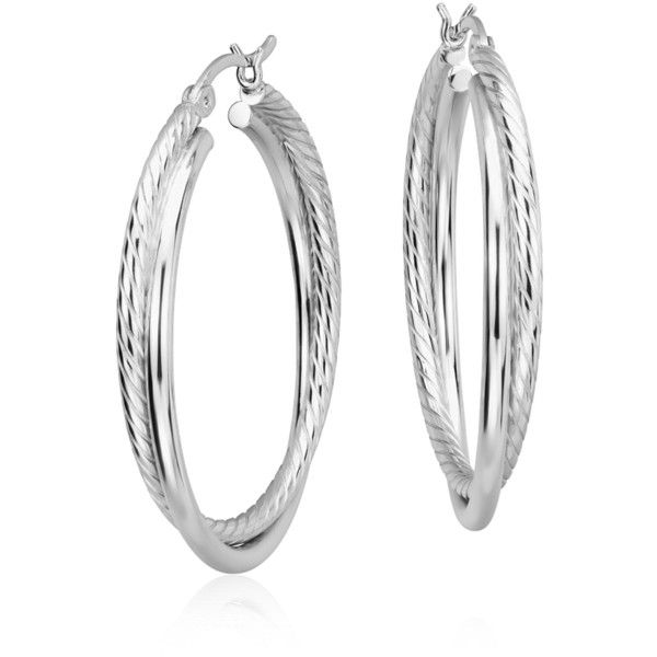 Blue Nile Twisted Hoop Earrings ($80) ❤ liked on Polyvore featuring jewelry, earrings, twist earrings, sterling silver earrings, blue nile, sterling silver jewelry and twist jewelry