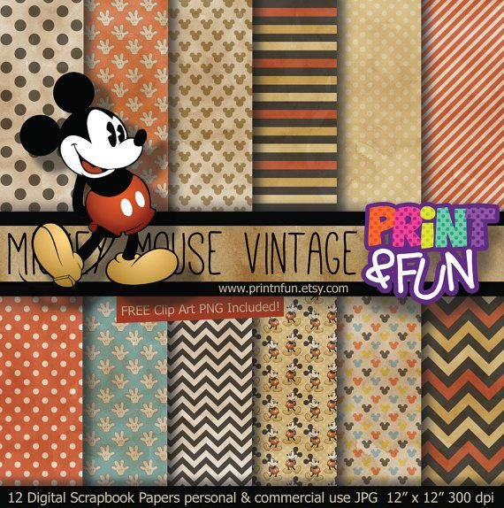 Vintage MICKEY MOUSE Disney Digital Paper Patterns by Printnfun, €3.00