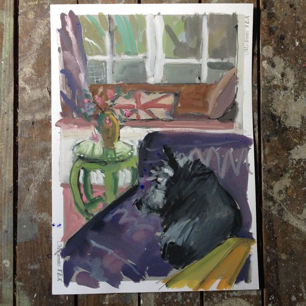 Dear Lottie. Painted from life. 29 x 40cm. Gouache on paper. In Lotties' owners collection. By Jane Canfield