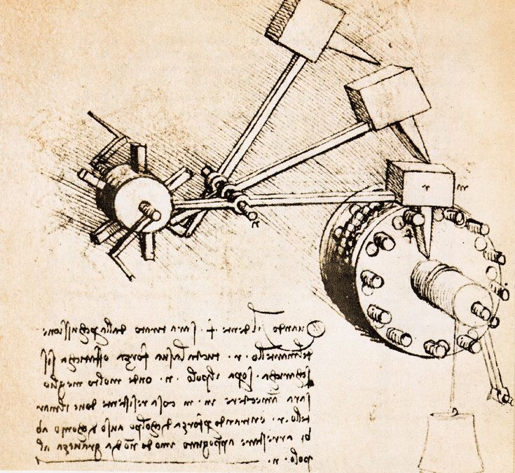 Engrenage imaginé par Léonard de Vinci