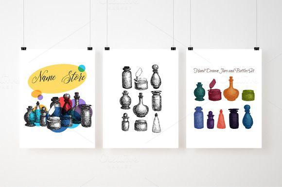 Vintage Glass Jars and Bottles Set by barsrsind on @creativemarket