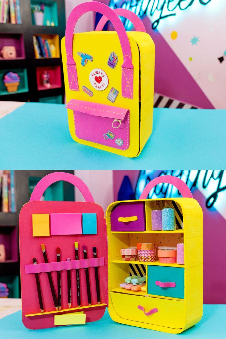 Organizadores de escritorio Mochila Cardboard Box Crafts, Cool Paper Crafts, Creative Crafts, Diy Crafts To Sell, Fun Crafts For Teens, Diy For Kids, Diy Back To School Supplies, Ideias Diy, Barbie