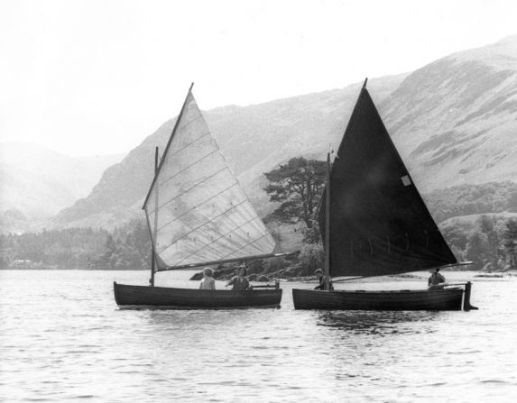 The lug-sail dinghies Swallow and Amazon as featured in the 1974 movie 'Swallows & Amazons' shot on Derwentwater in the English Lake District.