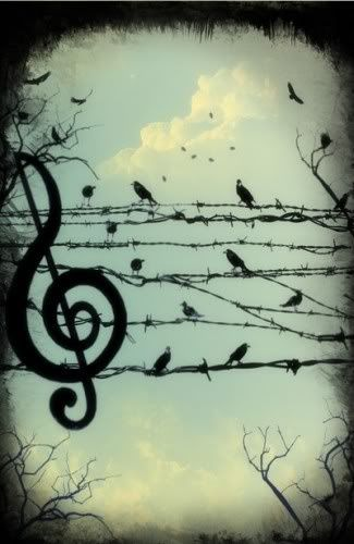 This would make a really pretty tattoo, even the music note. I love the bird silhouette on the wires.