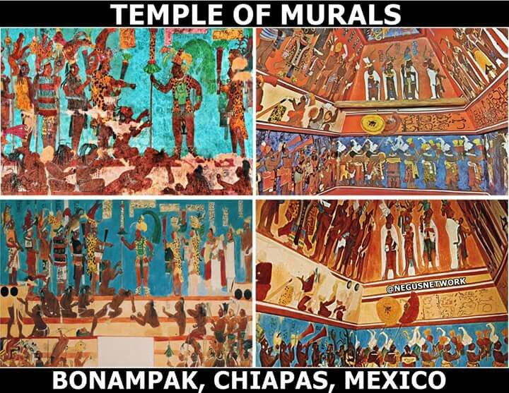 When they tell you the indigenous people of America were pale / fair skinned, but per the murals & drawings that the indigenous drew... shows nothing BUT dark / brown skinned folk, with dreads / braids / locs etc.   These are the rooms in the Temple of Murals of Bonampak, Chiapas, Mexico circa 500 - 800 A.D.  if pictures tell a thousand words... I wonder what these images tell...