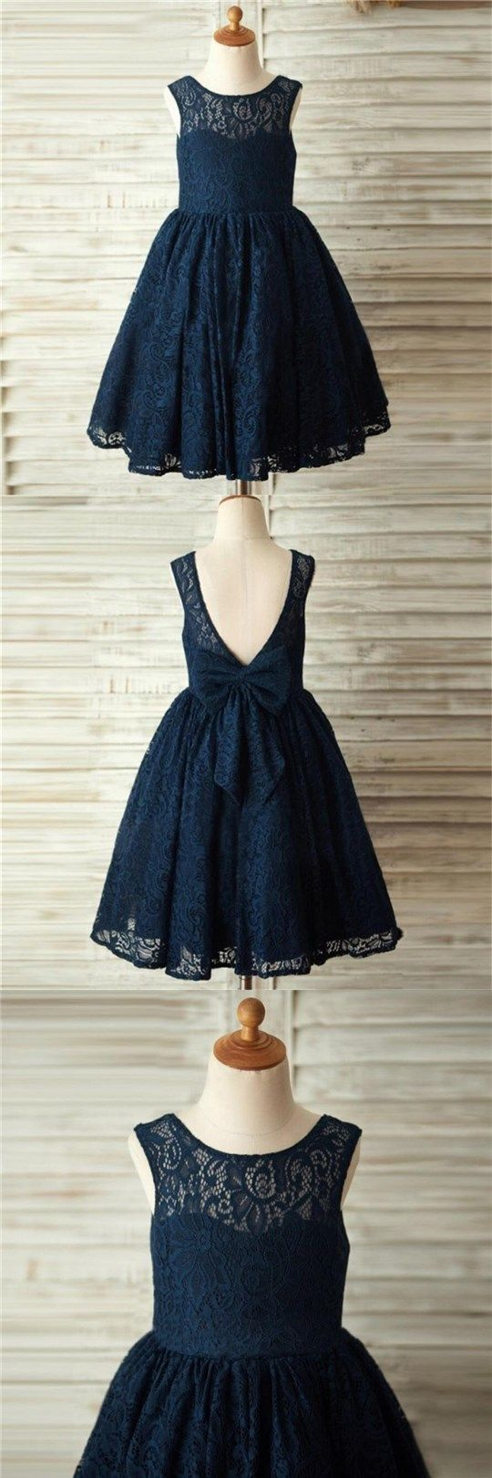 Navy Blue Lace Lovely Cute Flower Girl Dresses with bow , Junior Bridesmaid Dresses, FG084 #spisabridal#flowergirldress#wedding