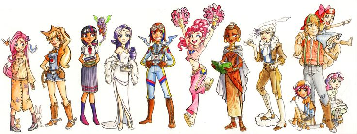 Humanized MLP Characters (I don't like Fluttershy's outfit)