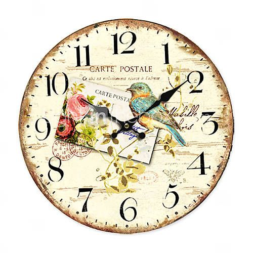 Carte Postale Country Floral Wall Clock Art Education