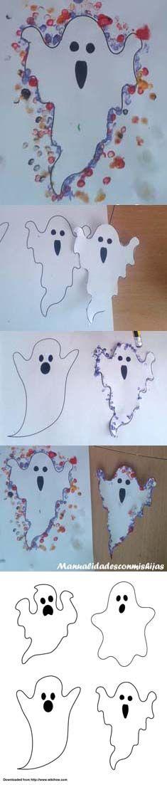 Manualidadesconmishias: Silueta de fantasma con huellas de lápiz para Halloween #ghost #halloween