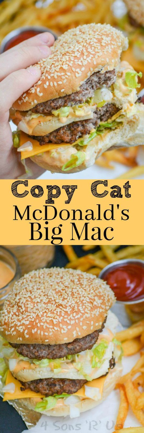 """Copycat McDonald's BIG MAC hamburger Recipe via 4 Sons """"R"""" Us """"Get an authentic taste of your favorite fast food burger with this Copy Cat McDonald's Big Mac. It's got everything you crave about the classic double decker sandwich, including the 'secret sauce', that's a spot on replica. Serve it with an ice cold coke, and crispy french fries for an authentic lunch or dinner."""""""