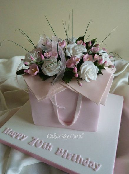 Pink flower box Cake ~ all sugar flowers