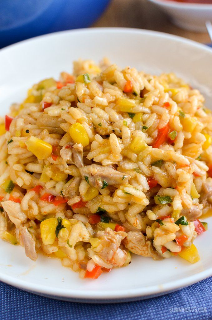 Slimming Eats Chicken, Red Pepper and Sweetcorn Risotto - gluten free, dairy free, Slimming World and Weight Watchers friendly