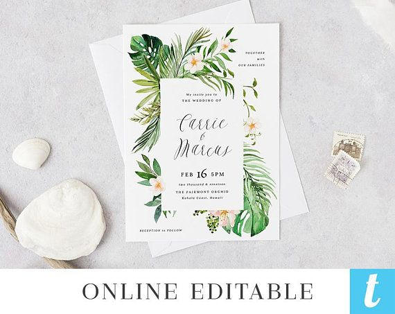 Tropical Beach Wedding Invitation Template Printable Hawaii Etsy Hacer Invitaciones De Boda Invitaciones De Boda Invitaciones De Boda Sencillas