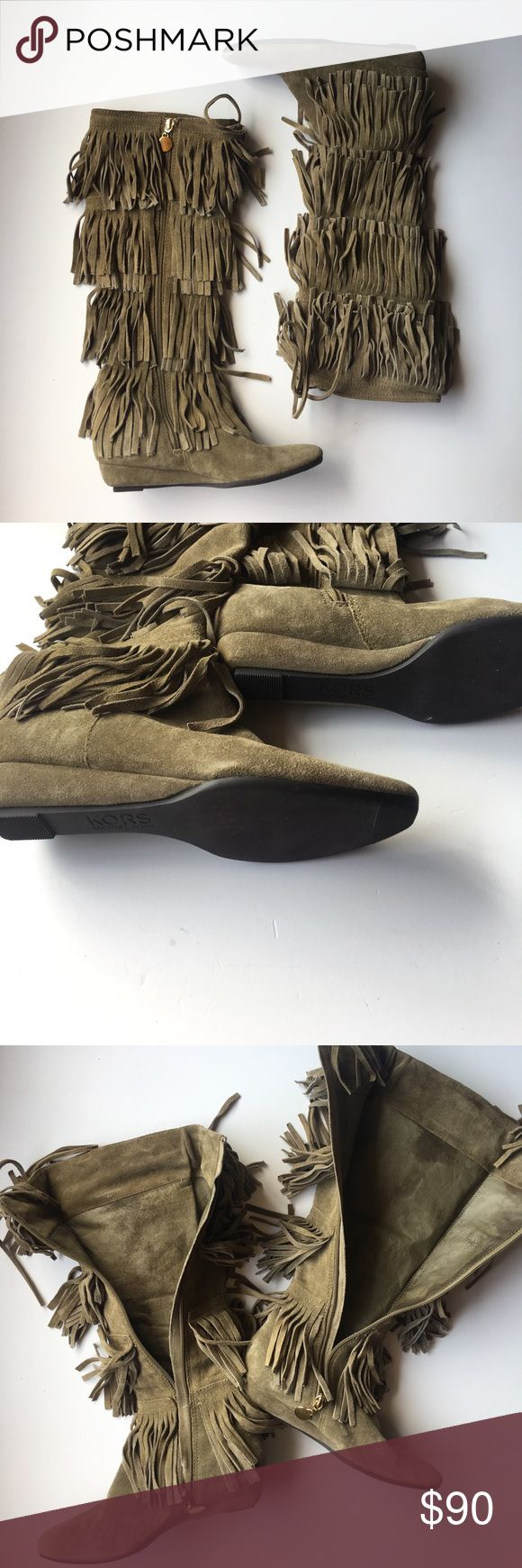 Michael Kors tan suede tall fringe boots Tan tall fringe boots with 1 inch wedge heel. Slight discoloration on lining as pictured. Very slight scuff on edge. Still very good condition Michael Kors Shoes Heeled Boots