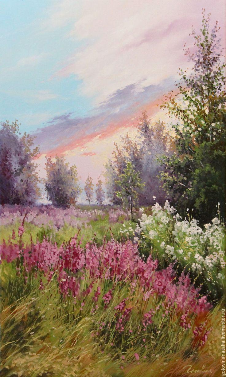 Купить Картина маслом,пейзаж, Летний вечер - картина маслом на холсте, картина класс