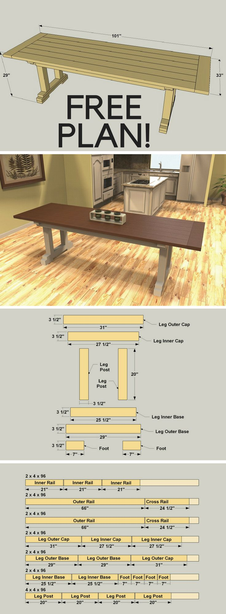 How to build a DIY Rustic Farmhouse Table | Free printable project plans on buildsomething.com | The classic look of a farmhouse table is as popular today as ever—and not just in farmhouses. A farmhouse table looks great in an urban loft or suburban home. That's because this type of table offers simple styling, solid construction, and versatility that make it useful and beautiful.